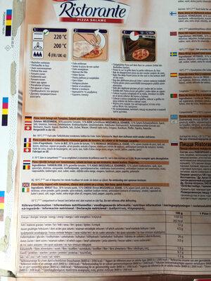 Dr. Oetker Ristorante Pizza Salame - Voedingswaarden - sv