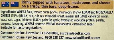 Ristorante Pizza Funghi - Ingredients