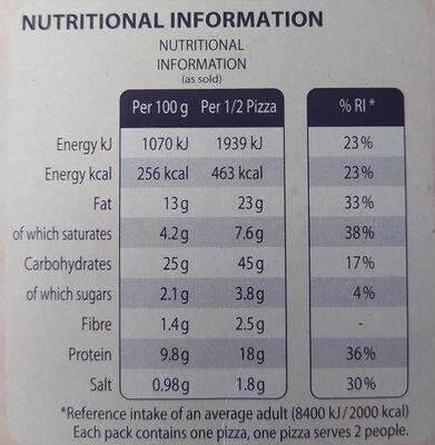 Ristorante Pizza Mozzarella - Nutrition facts - en
