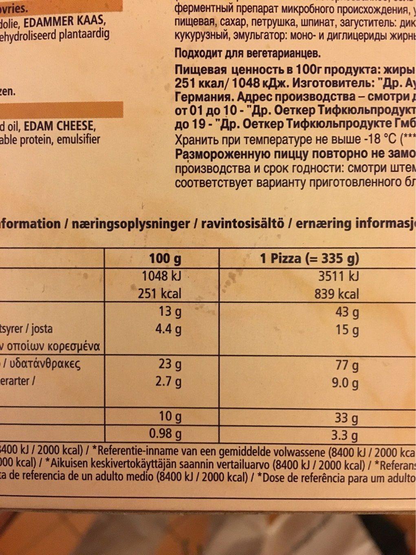 Ristorante Pizza Mozarella - Informations nutritionnelles