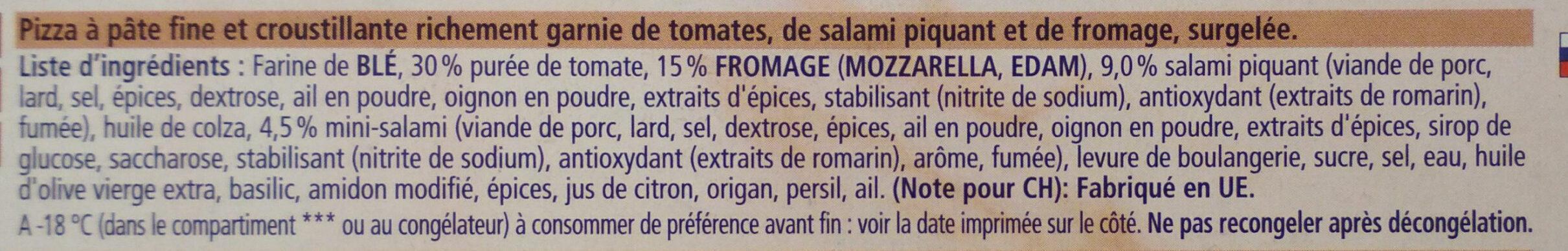 Ristorante Pizza Pepperoni-Salame - Ingredients