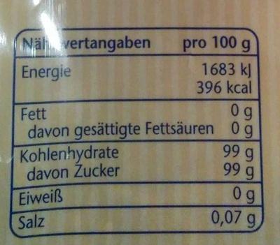 Brauner Zucker Kandisfarin - Voedingswaarden - de