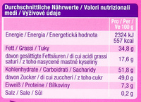 Alpia noisette - Informations nutritionnelles