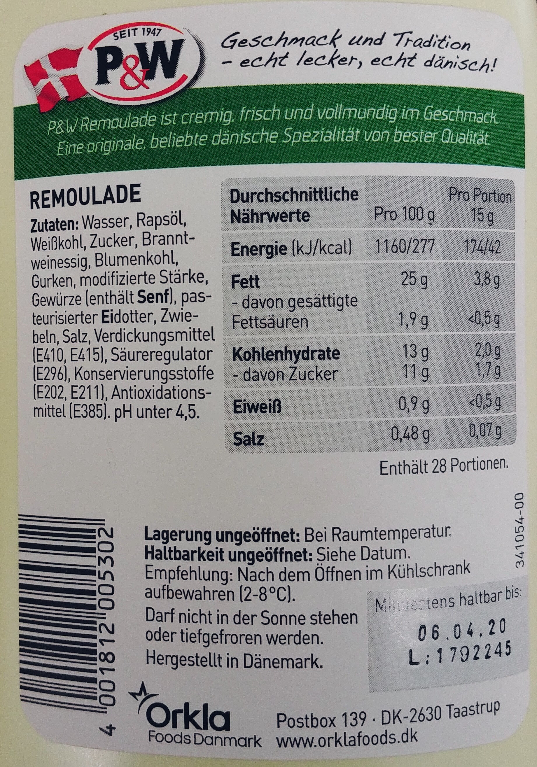 Remoulade - Informations nutritionnelles
