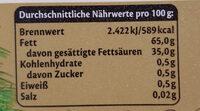 Butter ungesalzen - Informations nutritionnelles - de