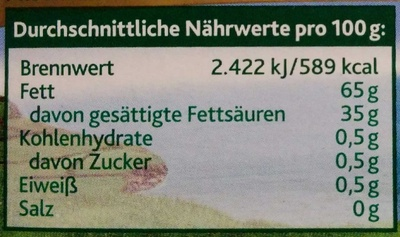 Kerrygold extra ungesalzen - Informations nutritionnelles