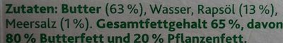 Butter & Rapsöl extra mit Meersalz - Inhaltsstoffe - de