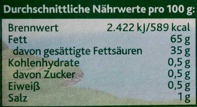 Butter & Rapsöl extra mit Meersalz - Nährwertangaben - de