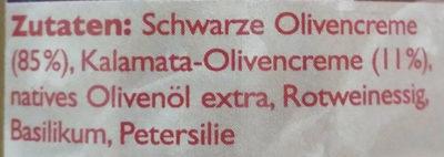 Schwarze Olivencreme - Ingrediënten