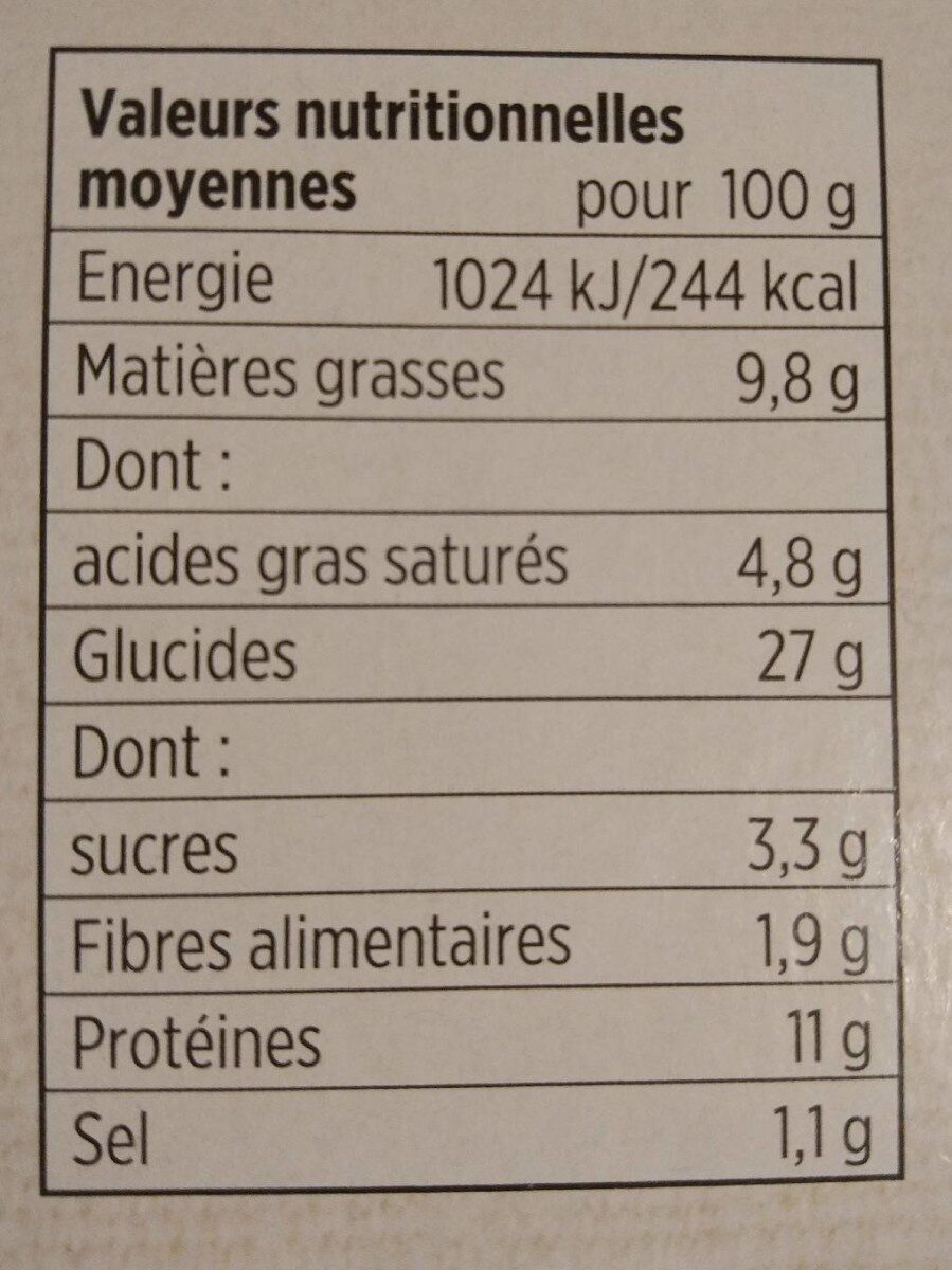 Pizza 4 fromages cuite sur pierre - Nutrition facts - fr