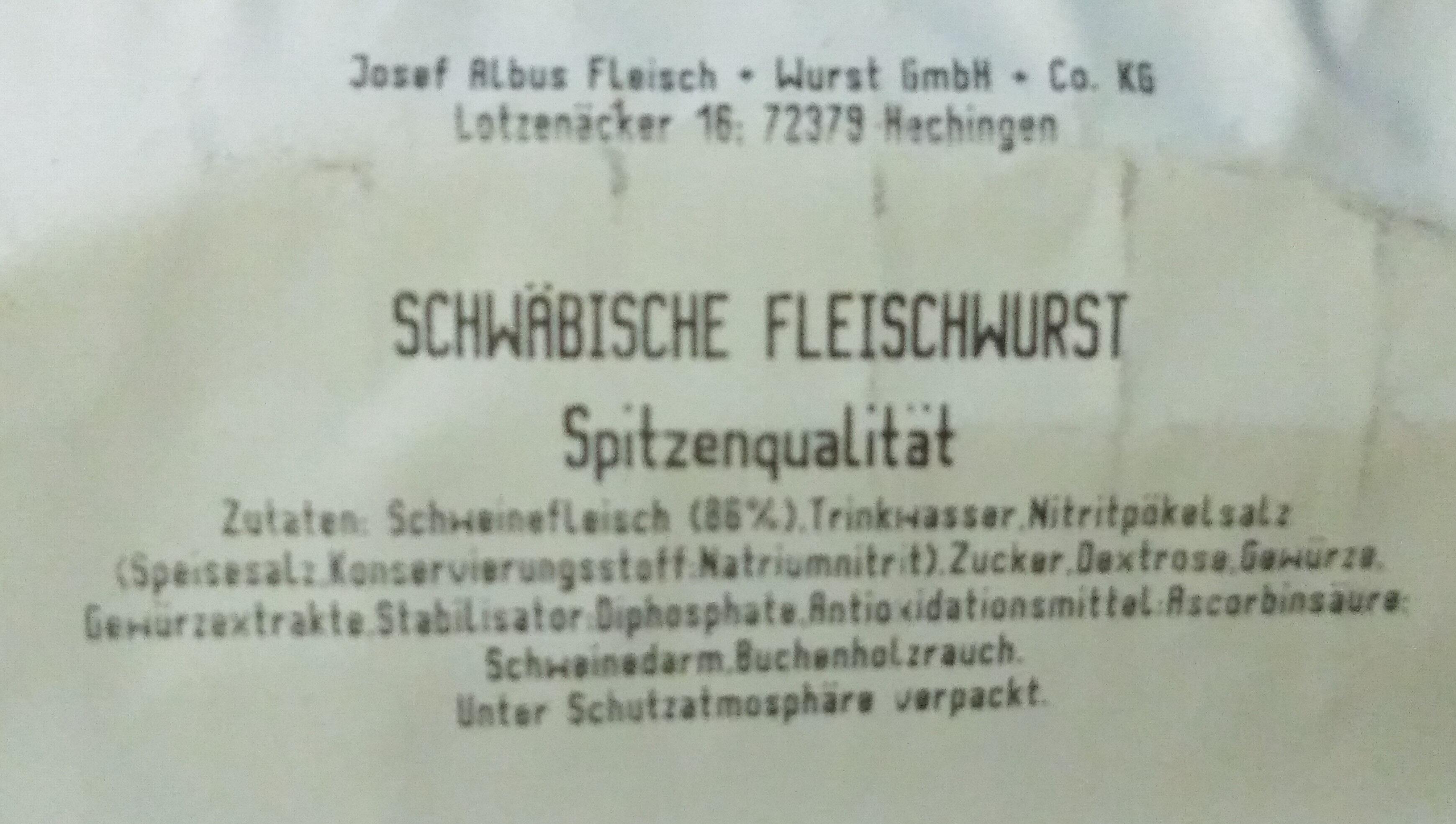 SCHWÄBISCHE FLEISCHWURST - Ingrédients