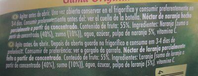 Néctar De Naranja Hecho Parcialmente A Partir De Concentrado - Ingredientes