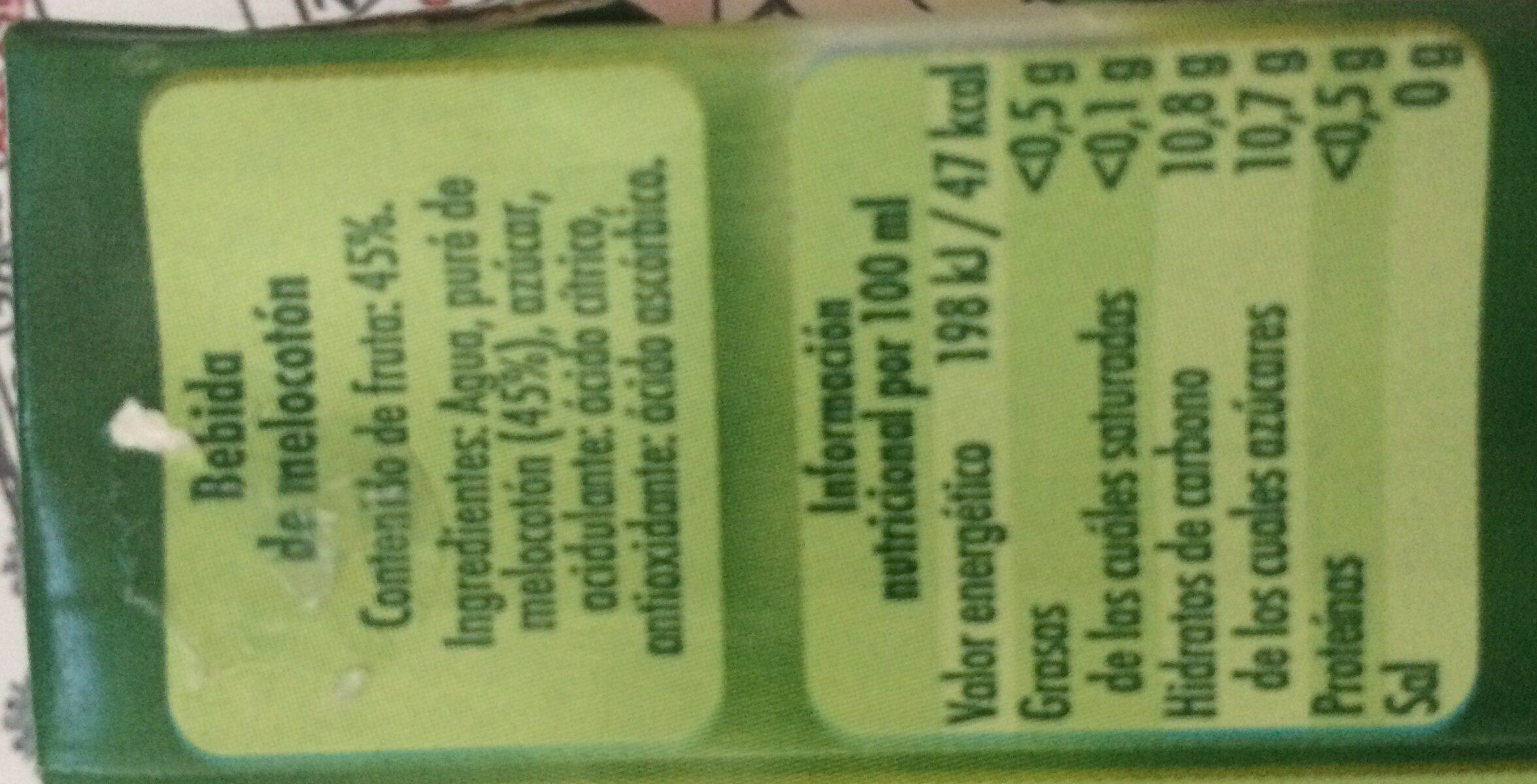 Néctar de melocotón - Ingredientes - es