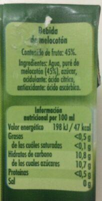 Néctar de melocotón - Información nutricional