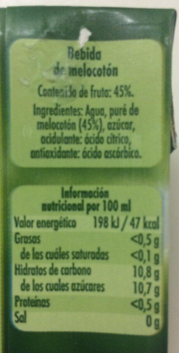Néctar de melocotón - Información nutricional - es