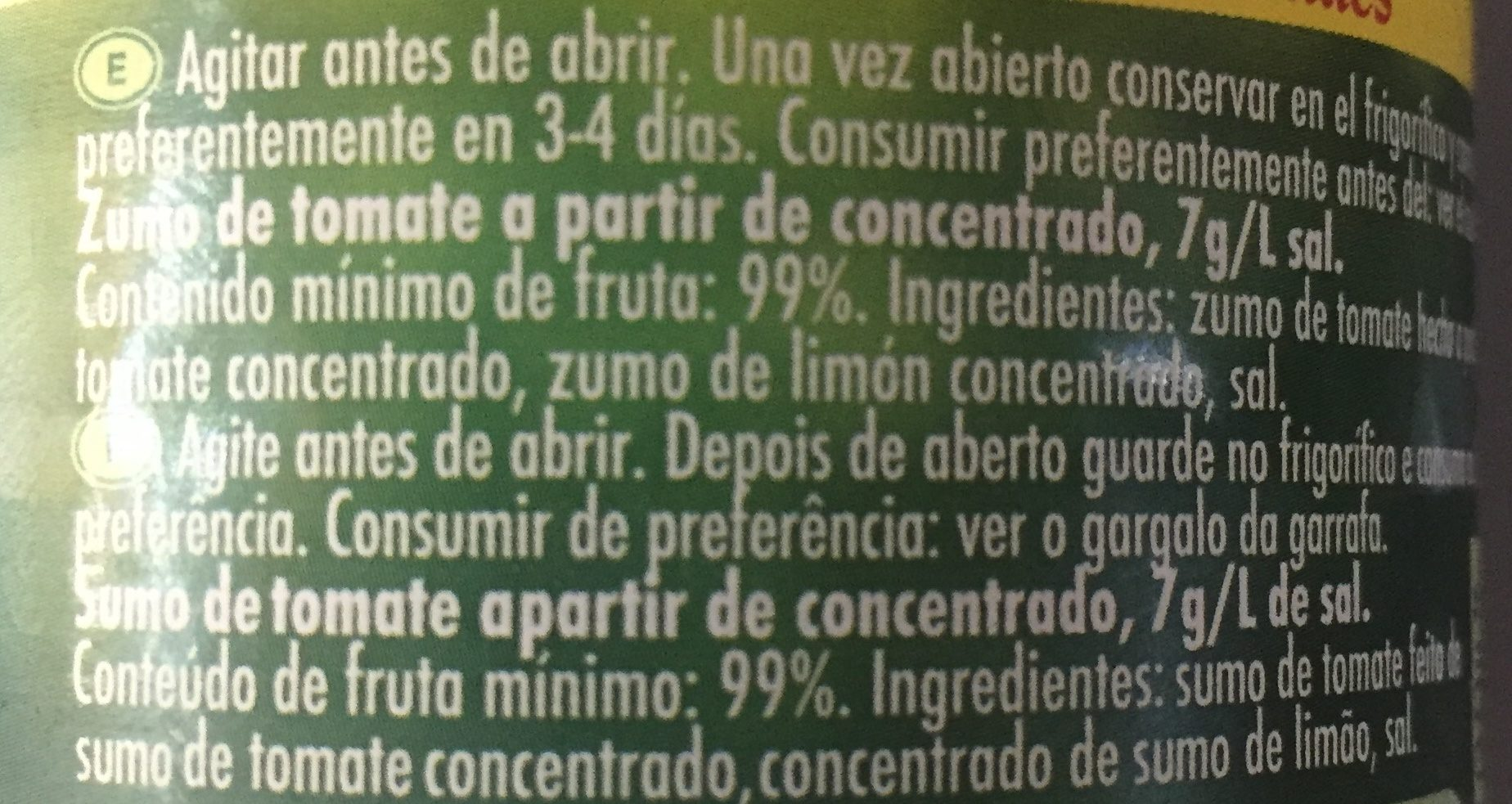 Zumo concentrado de tomate - Ingredients - es
