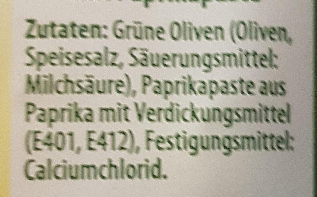 Grüne Oliven gefüllt mit Paprikapaste - Ingredients - en