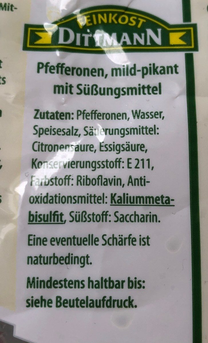 Pfefferonen mild-pikant - Ingrédients - de