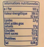 Bifidus aux fruits Framboise - Informations nutritionnelles - fr