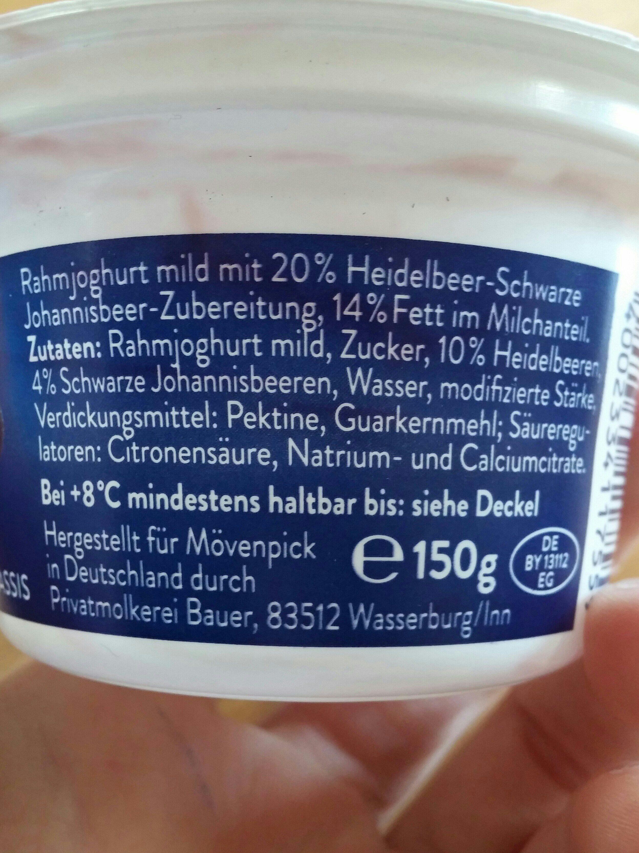 Mövenpick Feinjoghurt, Heidelbeere Cassis - Ingrédients - de