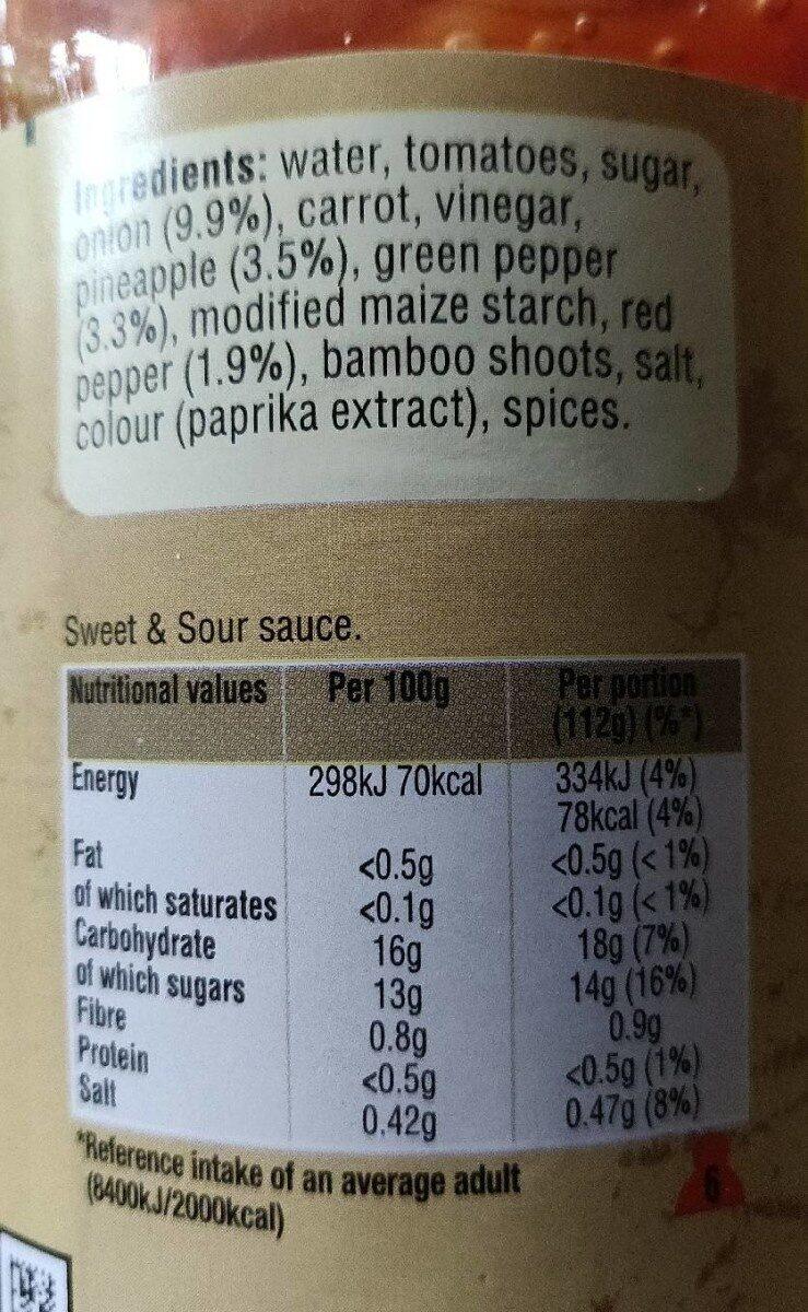Uncle Ben's sweet and sour sauce - Nutrition facts - en