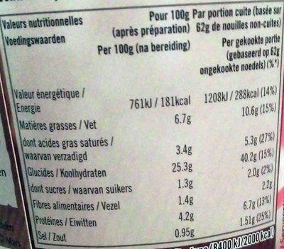 Nouilles saveur poulet coco - Informations nutritionnelles - fr