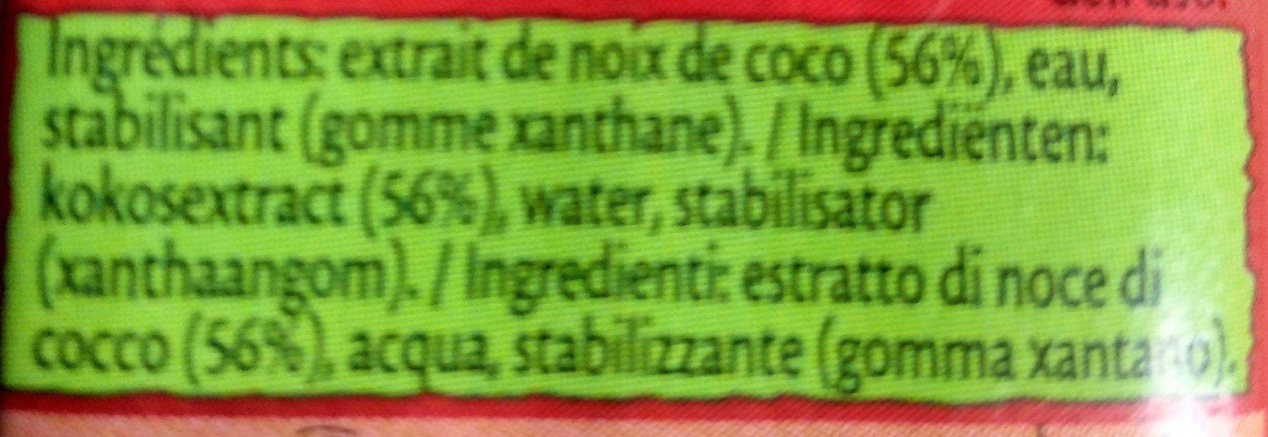 Lait de coco - Ingredients