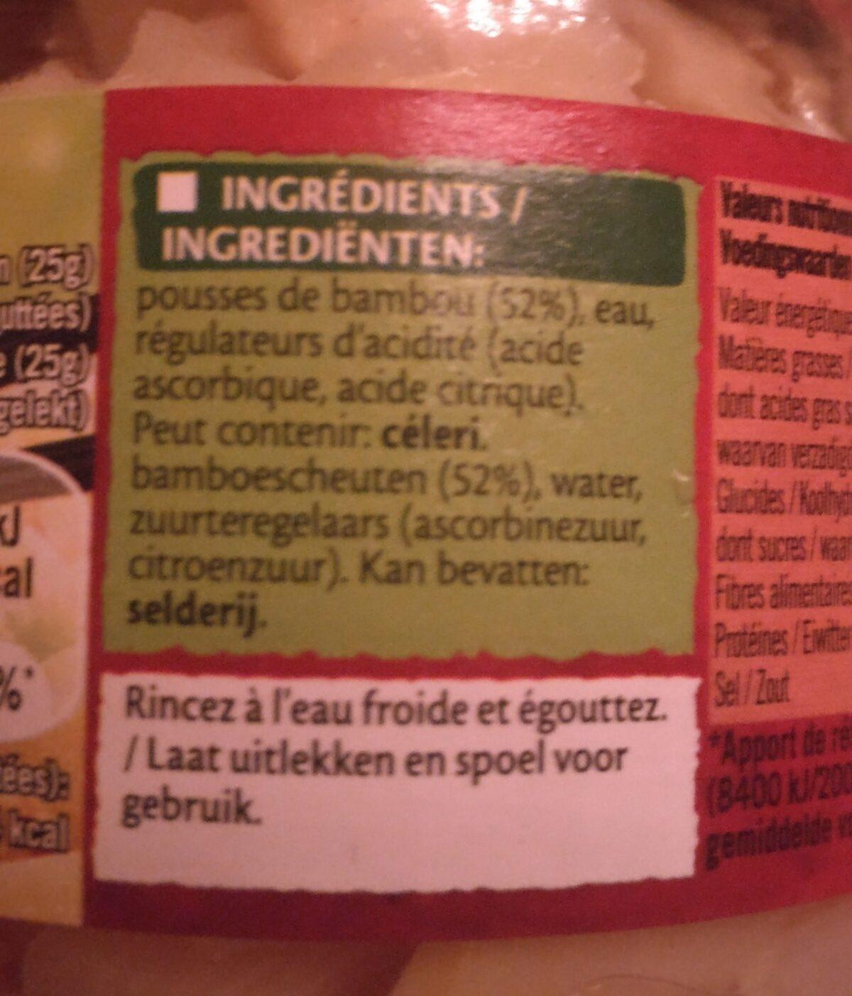 Pousses de bambou - Ingredients