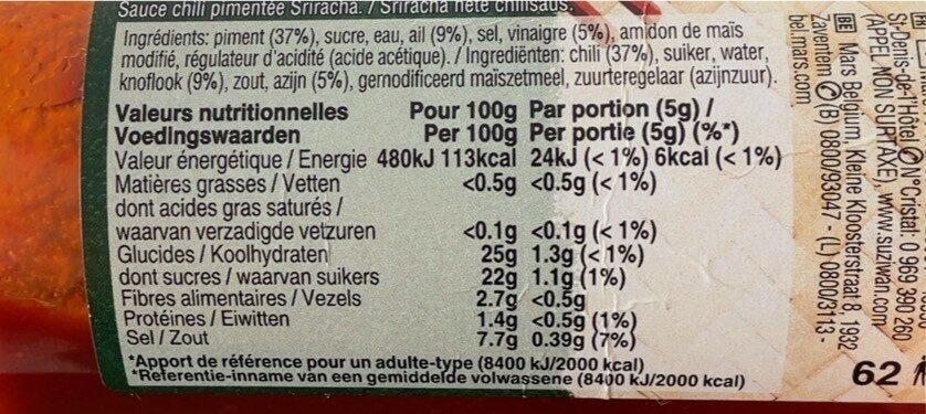 Sauce sriracha - Informations nutritionnelles - fr