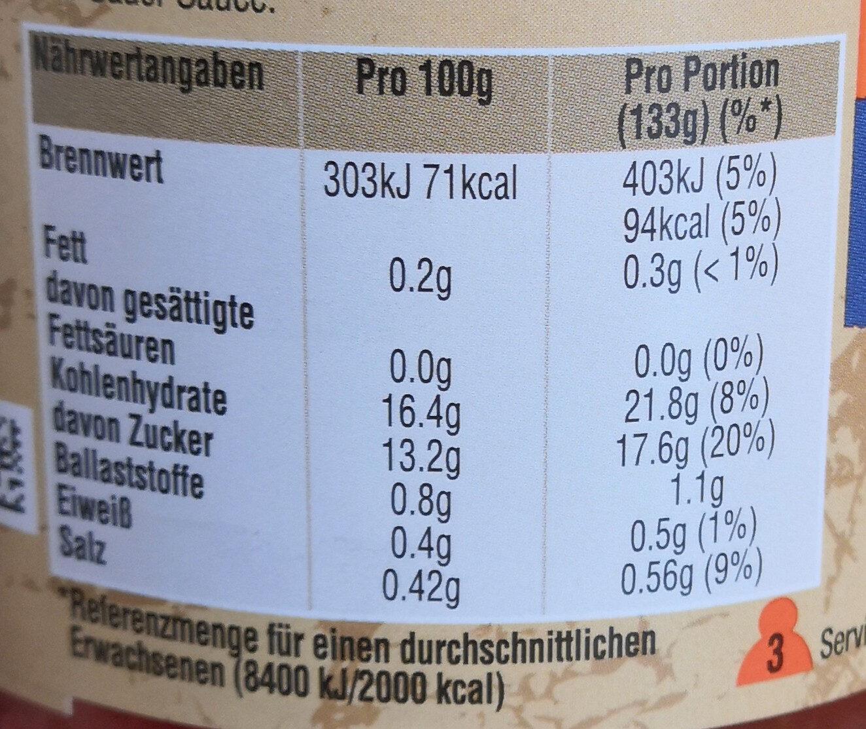 Uncle Ben's Süß-Sauer Extra Gemüse - Informations nutritionnelles - de