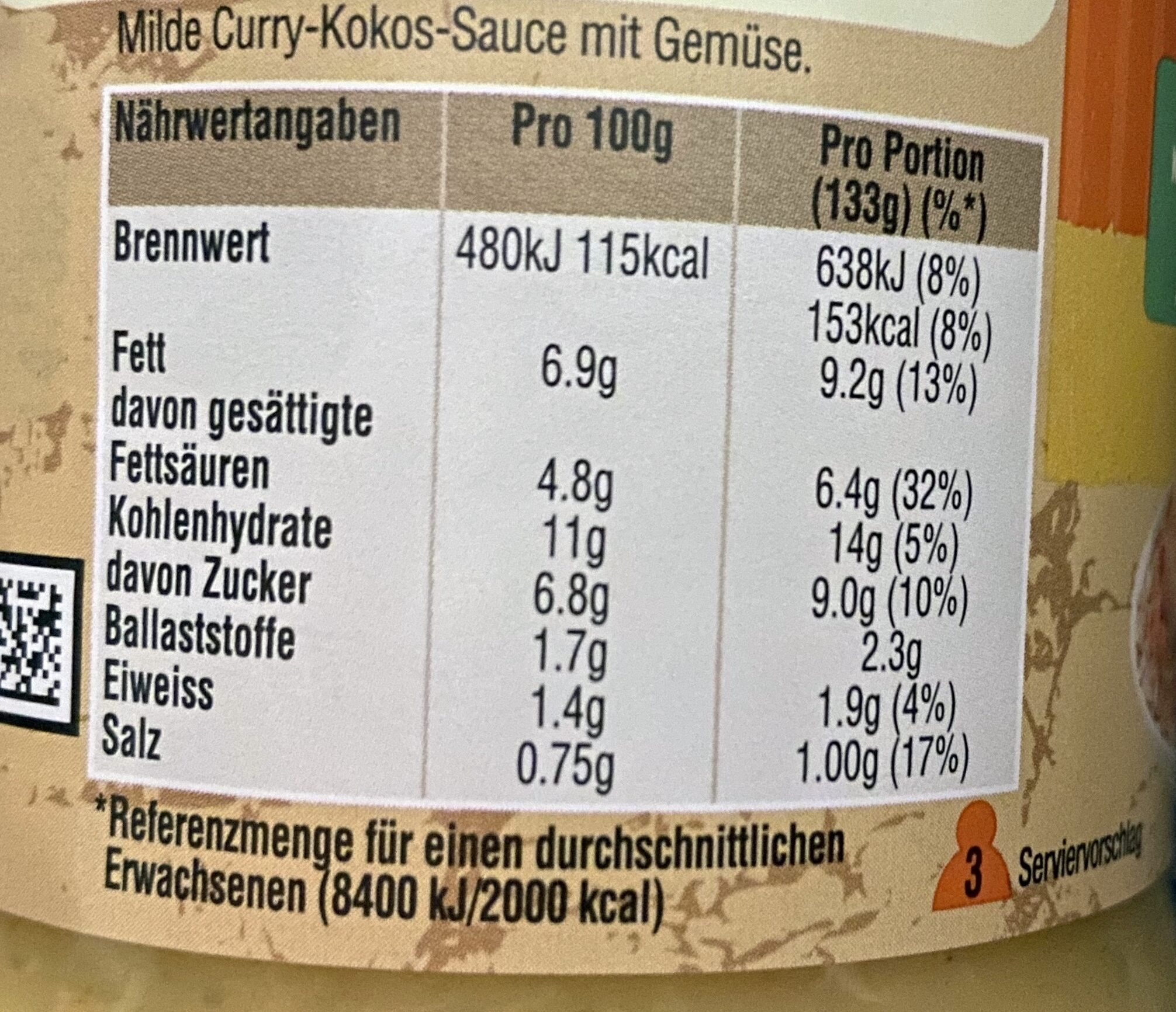 Cremiges Curry - Nutrition facts - en