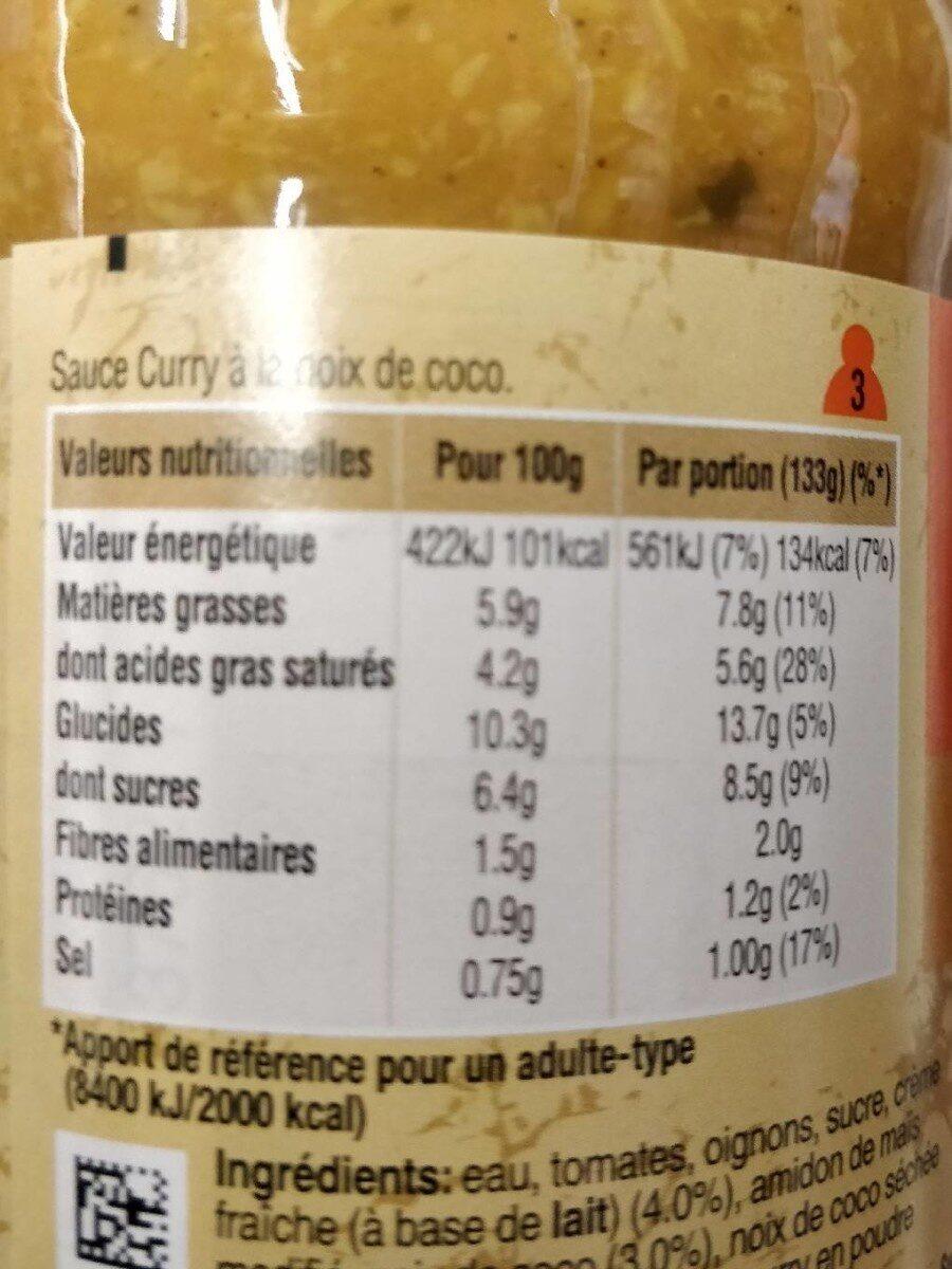 Sauce curry Uncle Ben's 400 g - Informations nutritionnelles - fr