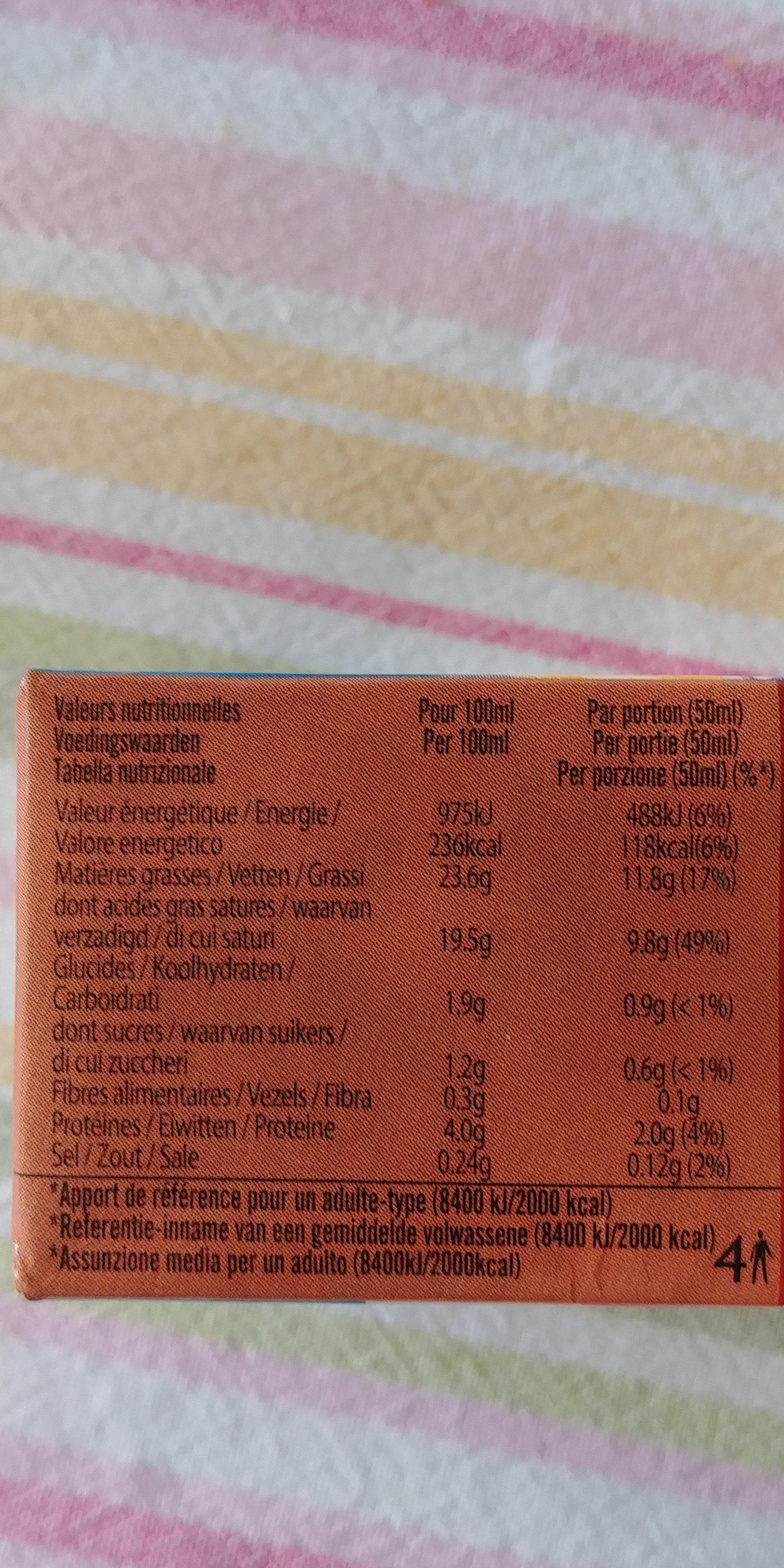 Crème de coco - Informazioni nutrizionali
