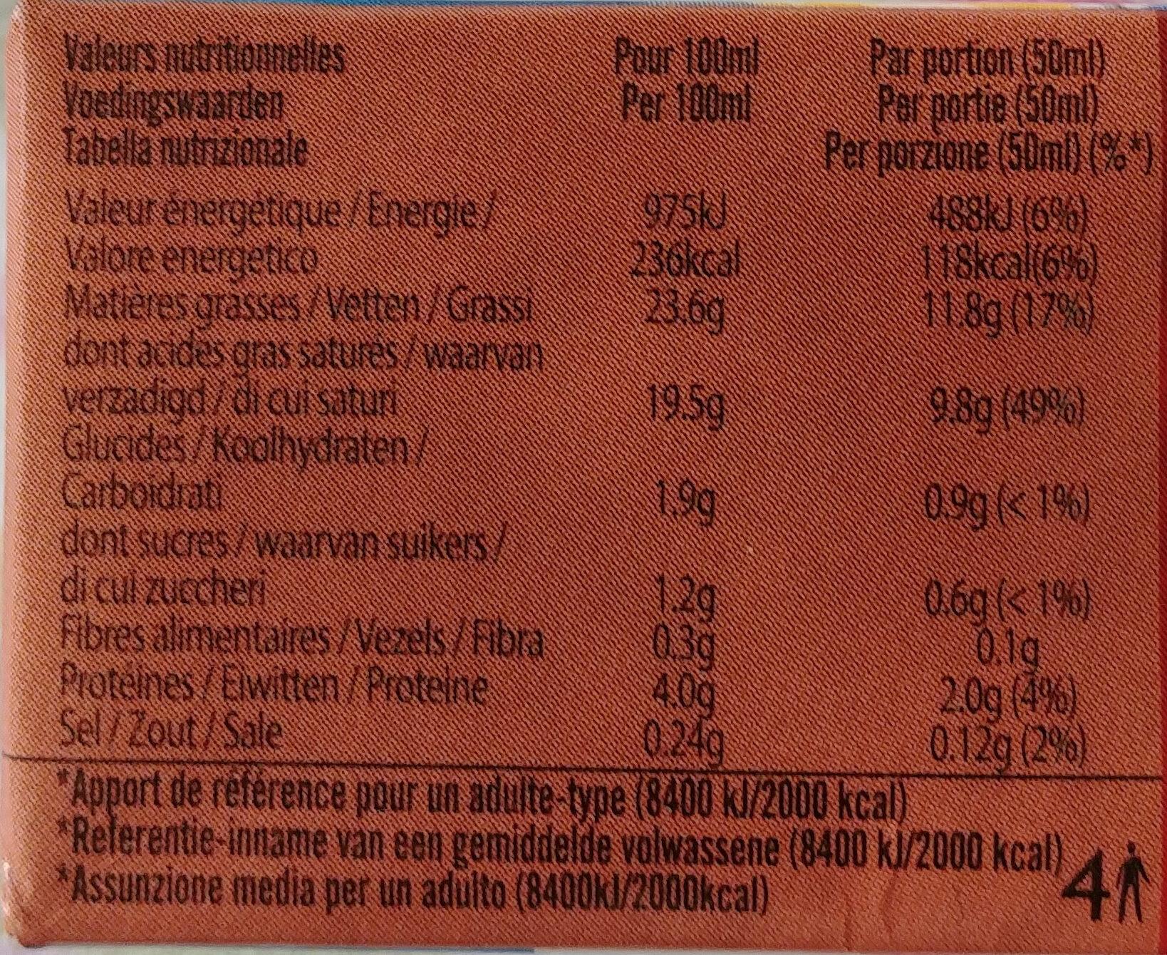 Crème de coco - Informations nutritionnelles - fr