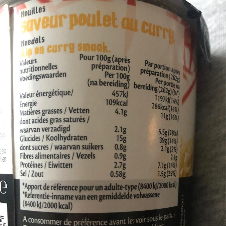 Nouilles en pot saveur poulet curry  Suzi Wan 62 g - Informations nutritionnelles - fr