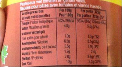 Sauce bolognaise avec viande - Voedingswaarden - fr