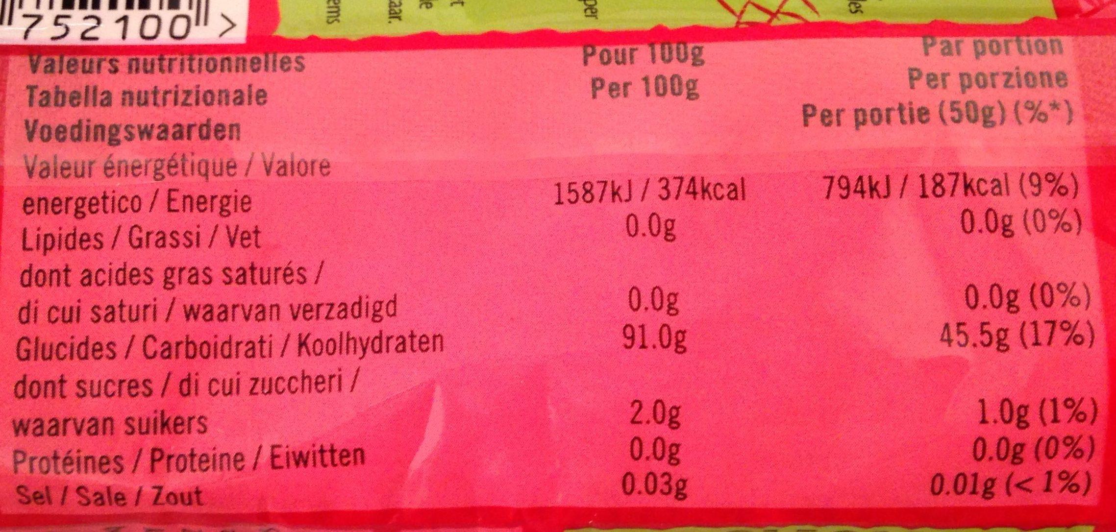 Vermicelles de soja - Nutrition facts
