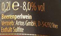 Graf Artos halbtrocken - Nutrition facts - de