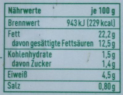 Veganer Streichgenuss Kräuter - Informations nutritionnelles