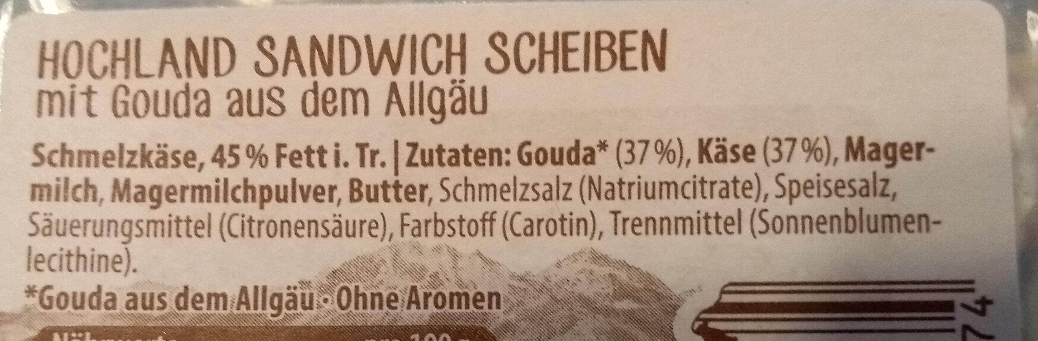 Sandwich Scheiben Gouda - Ingrédients