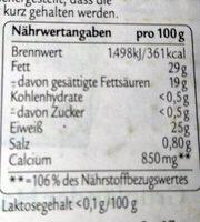 Grünländer MILD & NUSSIG, Der Klassiker - Nutrition facts
