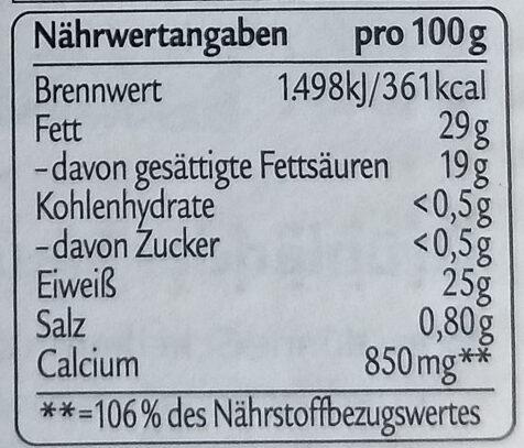 Grünländer Mild & Nussig - Informations nutritionnelles - de