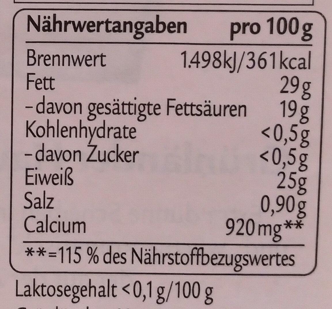 Würzig - Informations nutritionnelles - de