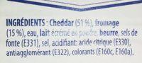 Fromage fondu au cheddar - Ingrédients