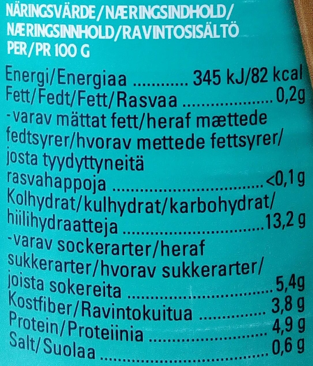 Heinz Vita bönor i tomatsås ekologisk - Nutrition facts