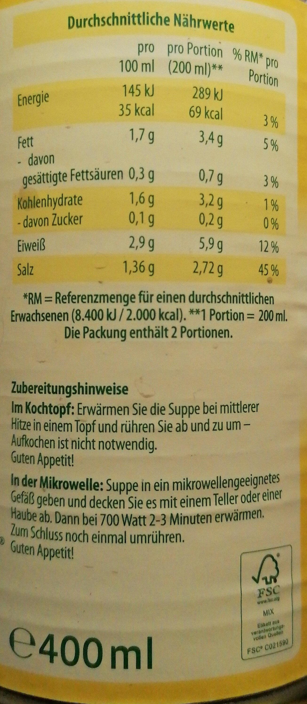 Rinder Kraftbrühe - Voedigswaarden