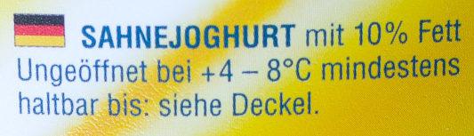 Sahnejoghurt 10% Fett, ohne Gelatine - Ingrediënten - de