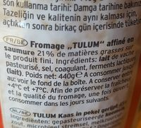 Fromage Tulum Gazi 400 GR X 8 Arev - Ingredients - fr