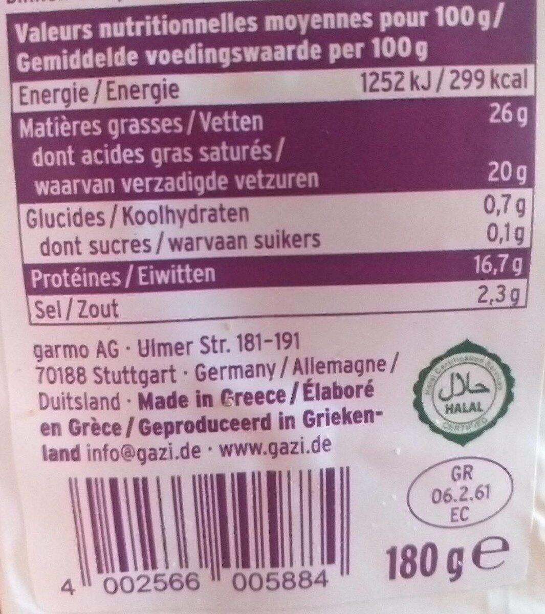 Fromage de chèvre - Valori nutrizionali - fr