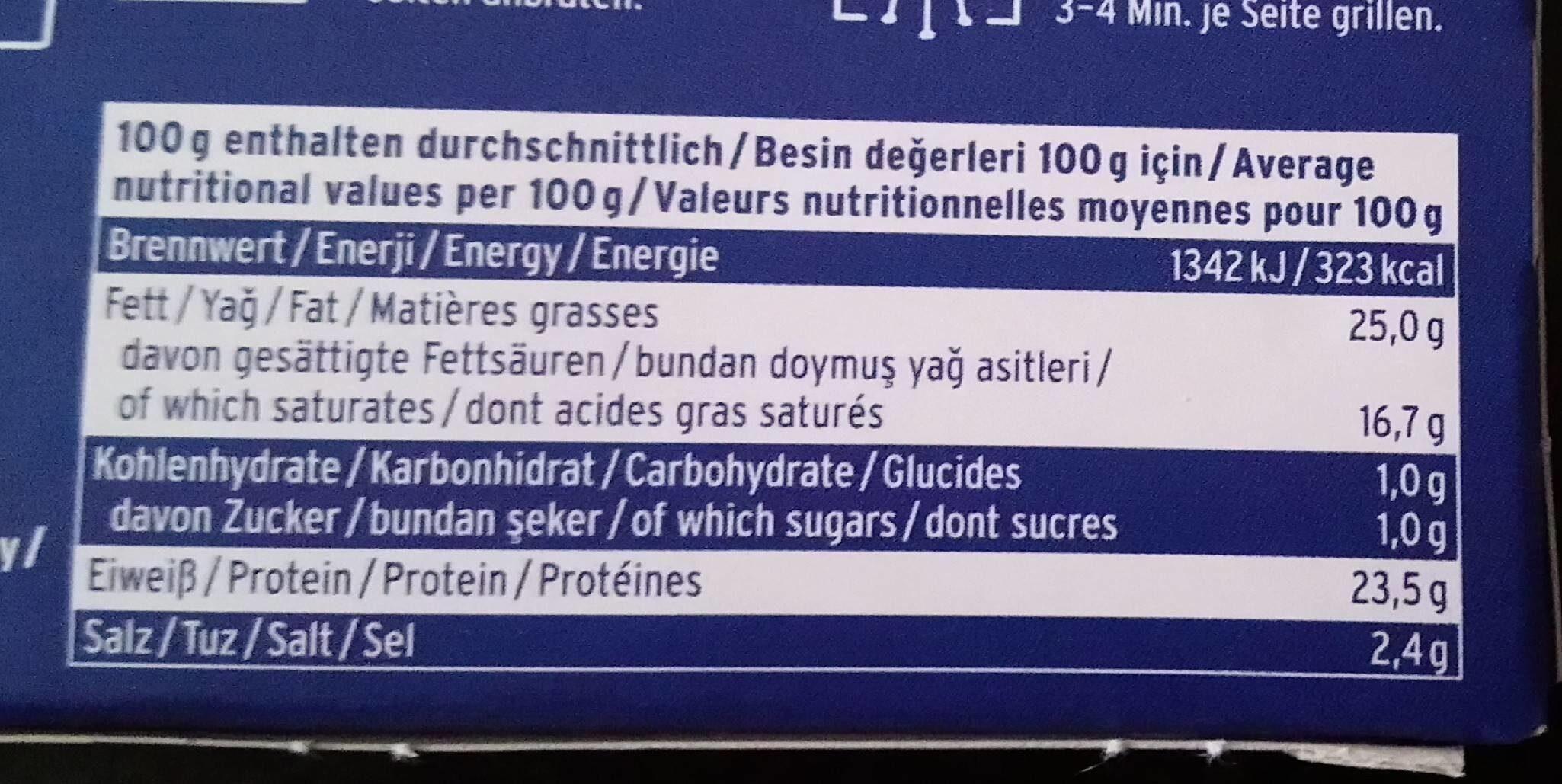 Grill- und Pfannenkäse Natur - Nährwertangaben - de